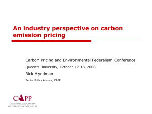 An industry perspective on carbon emission pricing Rick Hyndman