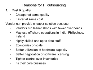 Reasons for IT outsourcing