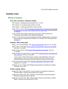 Usability notes Review of research —Required reading Tone, bias, and ethics