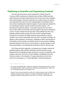 Publishing in Scientific and Engineering Contexts