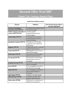 Microsoft Office Word 2007 Chapter Two: Creating a Research Paper