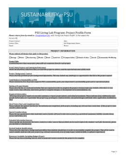 PSU Living Lab Program: Project Profile Form PROJECT INFORMATION
