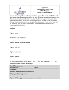 Use this form as a guide for exploring a practicum... help you to identify agencies that may be the right... Appendix 6