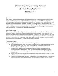 Women of Color Leadership Network Body Politics Application 20010/2011