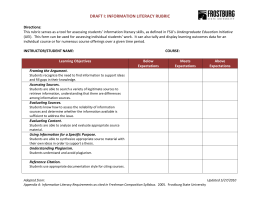 DRAFT I: INFORMATION LITERACY RUBRIC