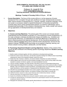 DEVELOPMENTAL PSYCHOLOGY, PSY 230, Fall 2015 SYLLABUS AND COURSE OUTLINE