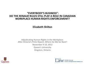 """EVERYBODY'S BUSINESS"": RENAUD WORKPLACE HUMAN RIGHTS ENFORCEMENT? Elizabeth Shilton"