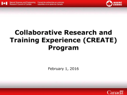Collaborative Research and Training Experience (CREATE) Program February 1, 2016