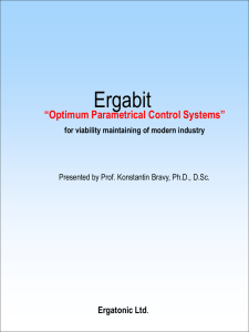 "Ergabit ""Optimum Parametrical Control Systems"" Ergatonic Ltd for viability maintaining of modern industry"