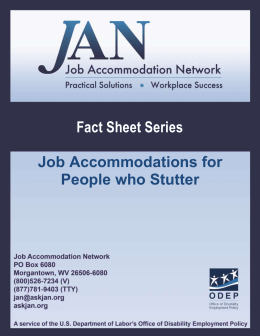 Job Accommodations for People who Stutter  Fact Sheet Series