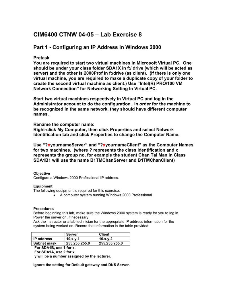 Lab Exercise 8 CIM6400 CTNW 04-05
