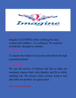 Imagine CLOTHING offers clothing for men, worldwide, through its website.
