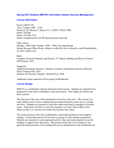 Spring 2013 Syllabus MIS755, Information System Security Management Course Information