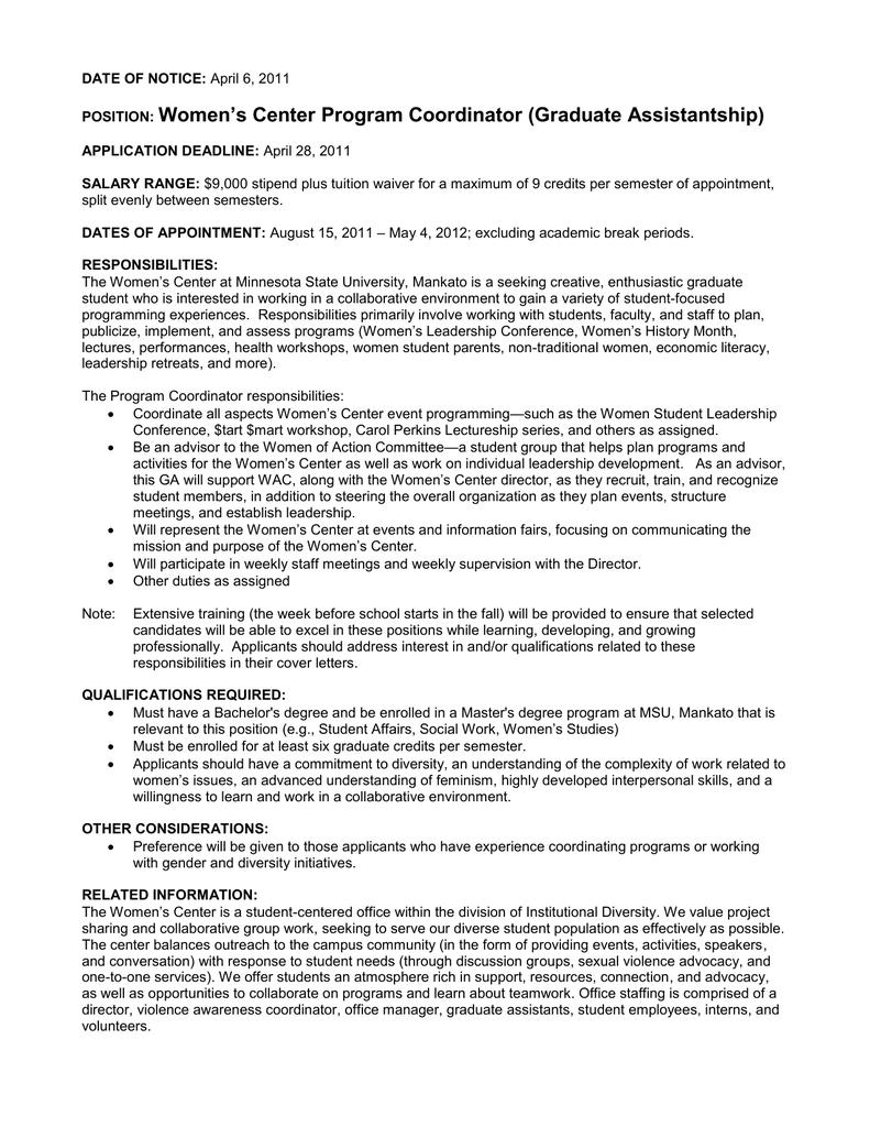 Women\'s Center Program Coordinator (Graduate Assistantship)