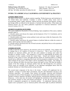 INTRO. TO AMERICAN & CALIFORNIA GOVERNMENT & POLITICS