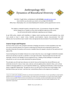 Anthropology 402: Dynamics of Biocultural Diversity