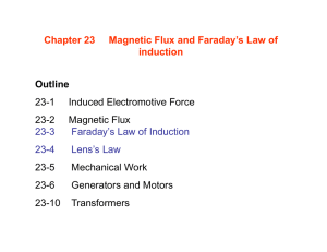 Chapter 23 Magnetic Flux and Faraday`s Law of induction Outline 23