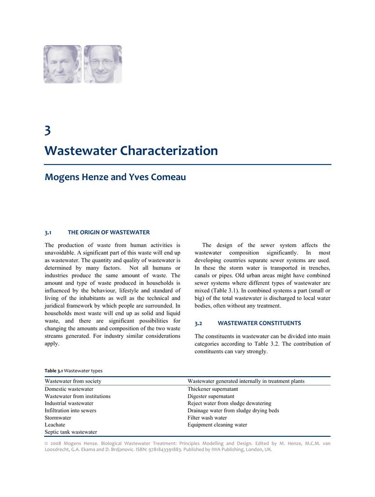 3 Wastewater Characterization