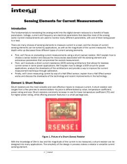 Sensing Elements for Current Measurements
