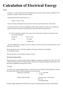 Calculation of Electrical Energy