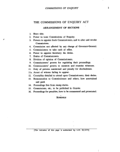 The Commissions of Enquiry Act