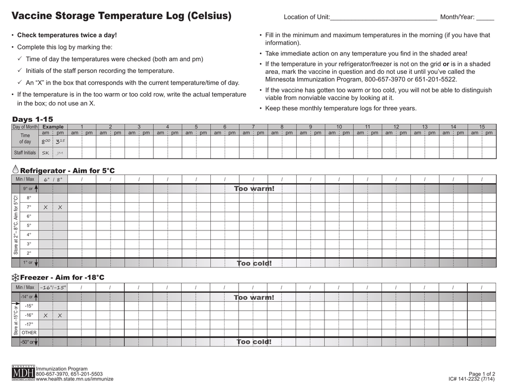 Temperature Log For Refrigerator And Freezer - Image Of Refrigerator ...