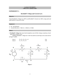EXPERIMENT 1: Kirchhoff`s Voltage and Current Laws