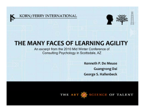 THE MANY FACES OF LEARNING AGILITY