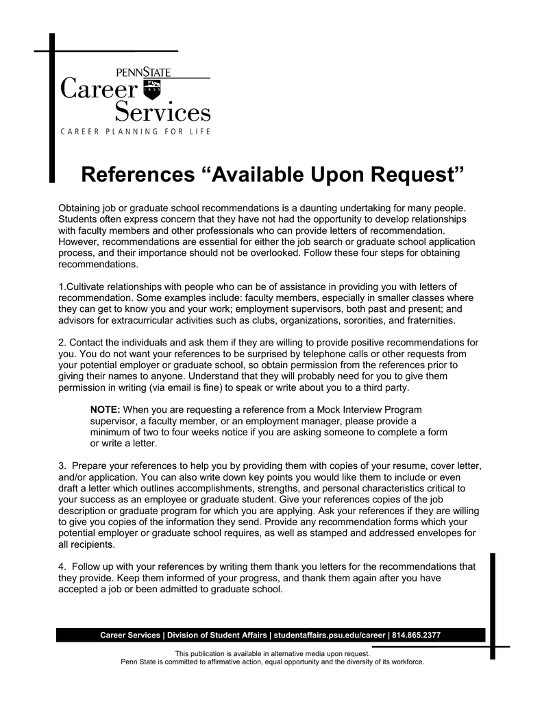 "References ""Available Upon Request"""