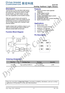 Analog Ambient Light Sensor Descriptions Function Block Diagram