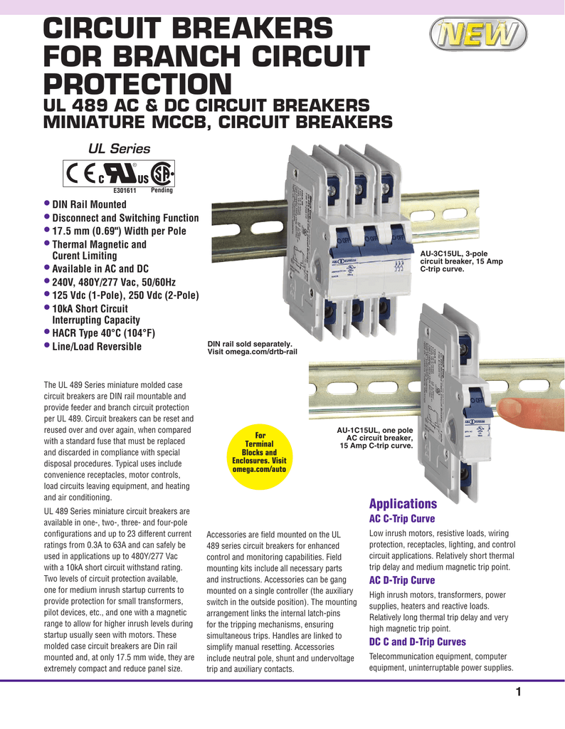 Circuit Breakers for Branch Circuit Protection