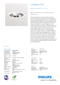 Product Leaflet: LuxSpace BBS480 downlight with LED