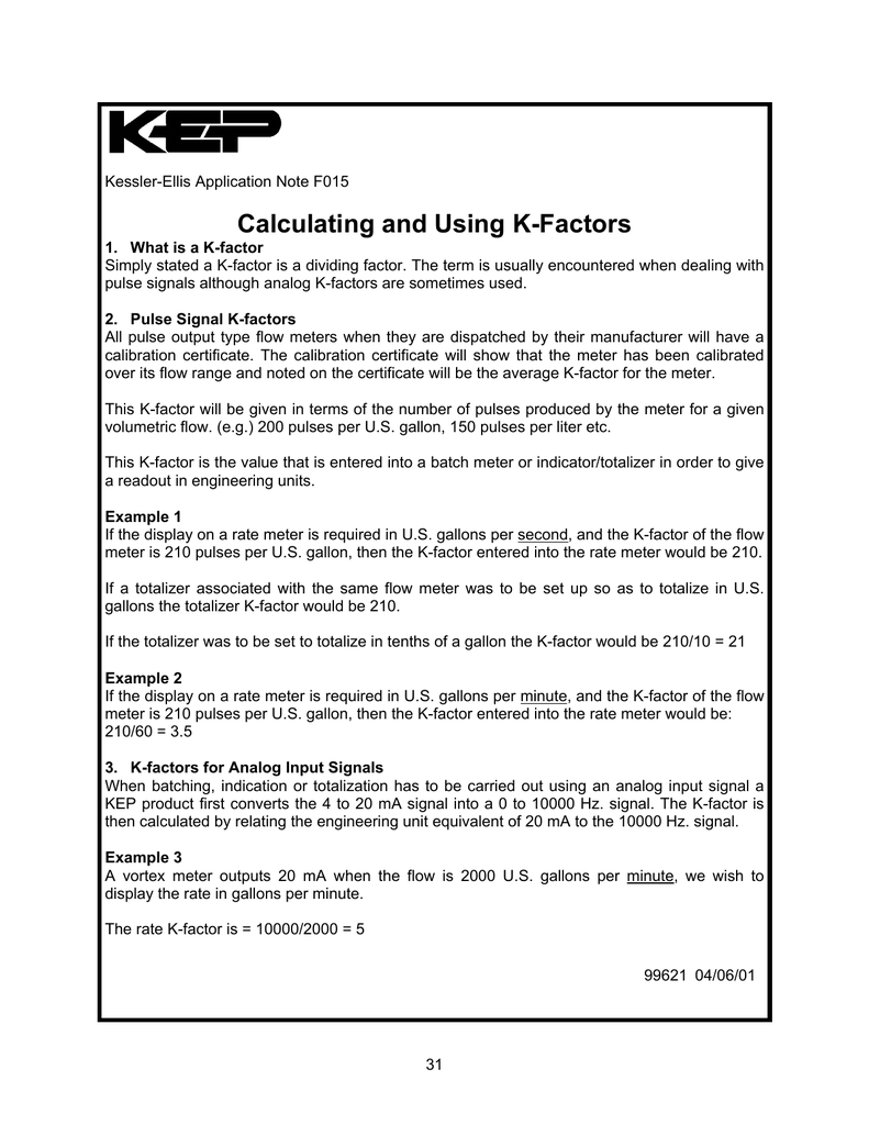 Calculating and Using K-Factors - Kessler