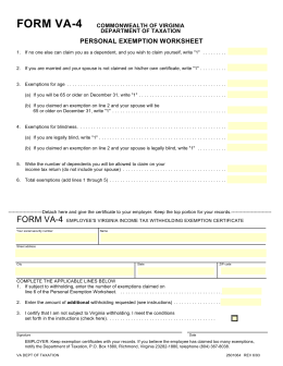 Form VA-4: Employee`s Virginia Income Tax Withholding