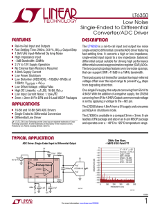 LT6350 - Low Noise Single-Ended to Differential Converter/ADC
