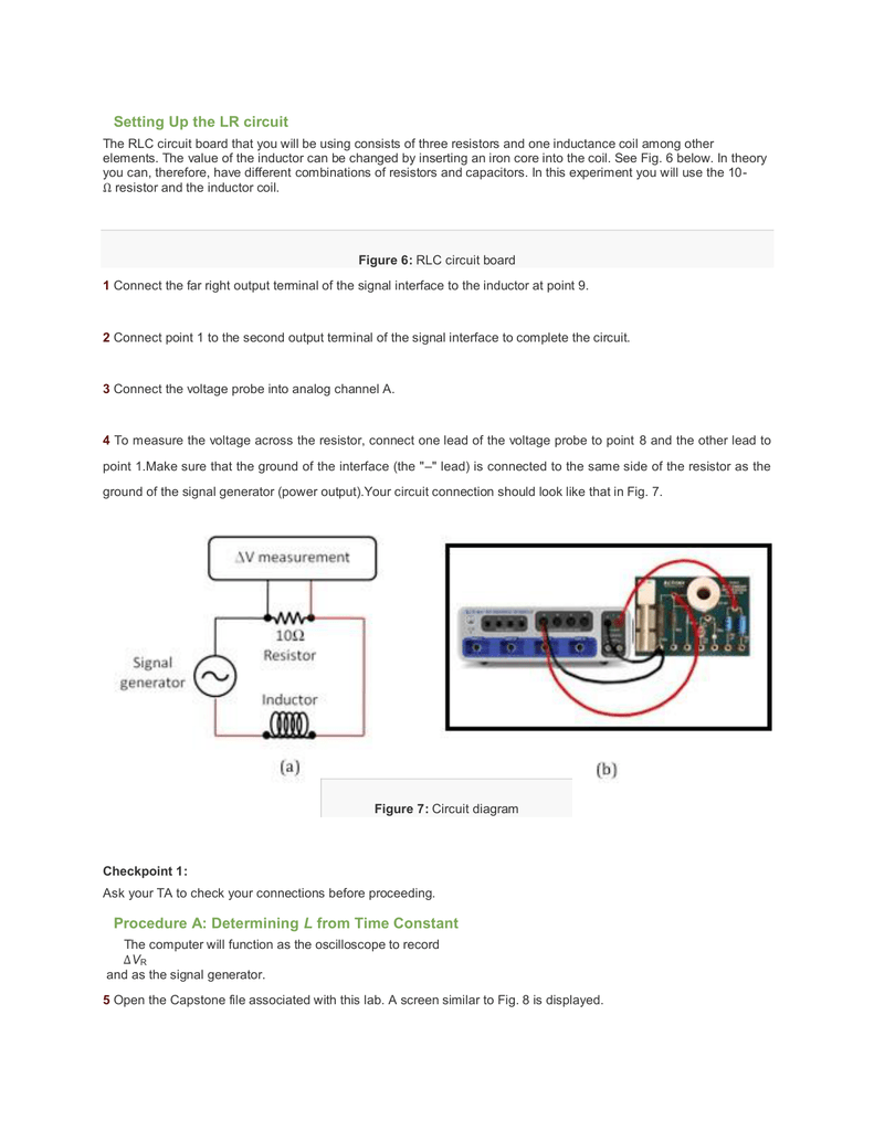 Setting Up The Lr Circuit Procedure A Determining L From Time Figure 3 Parallel Rlc