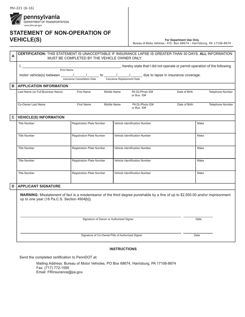 Pa Motor Vehicle Forms - impremedia.net