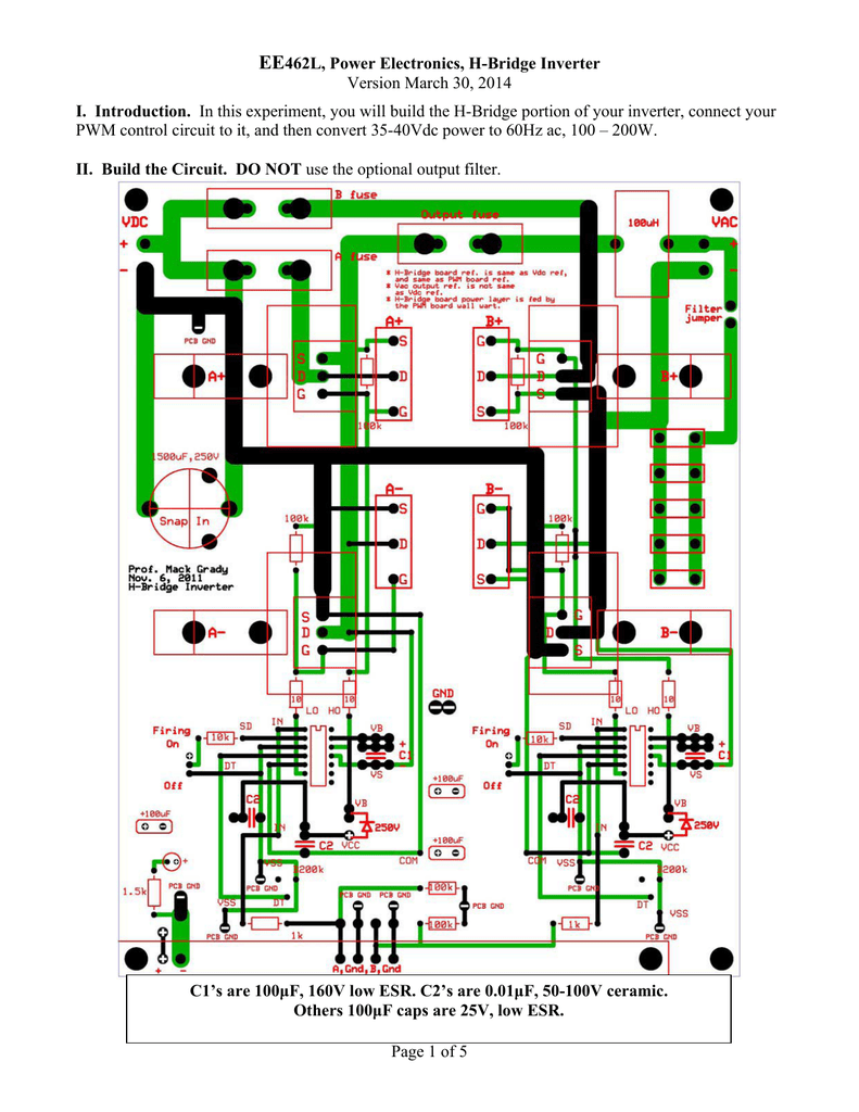 EE462L, Power Electronics, H-Bridge Inverter Version March 30