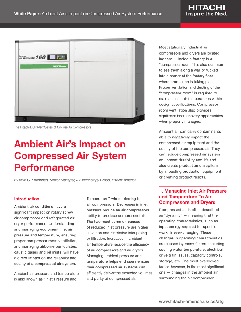 Ambient Airs Impact On Compressed Air System