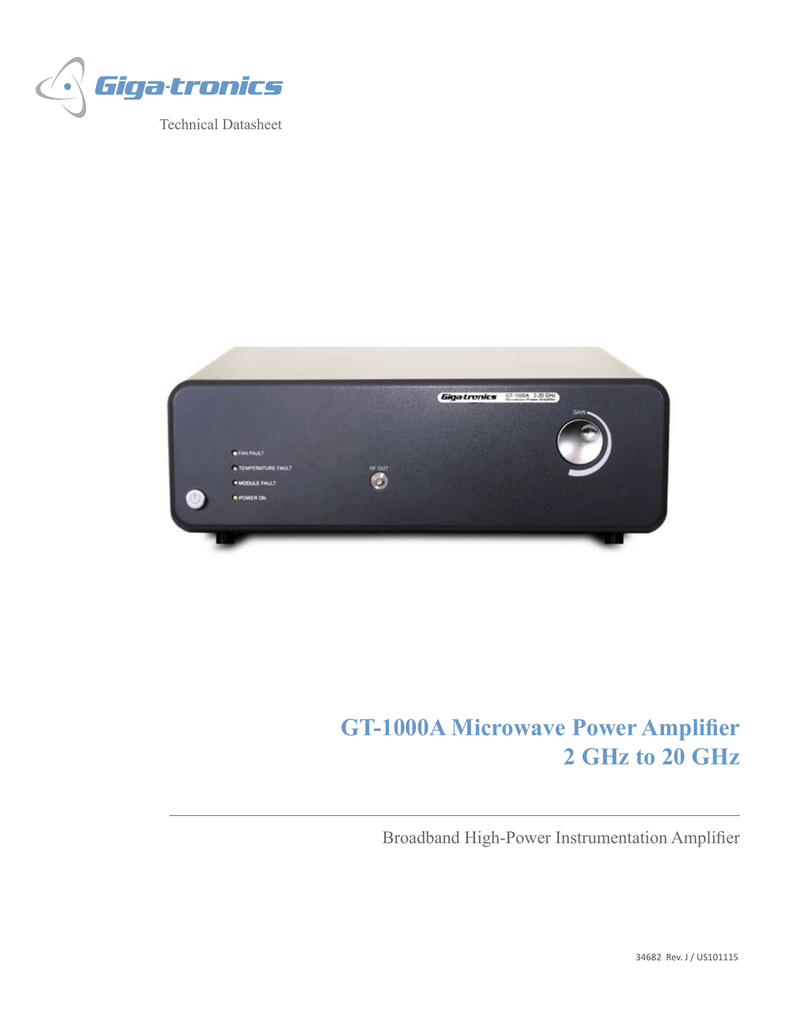 Gt 1000a Microwave Power Amplifier 2 Ghz To 20 Audio High