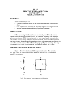 ee 255 electronics i laboratory experiment 1 resonant circuits