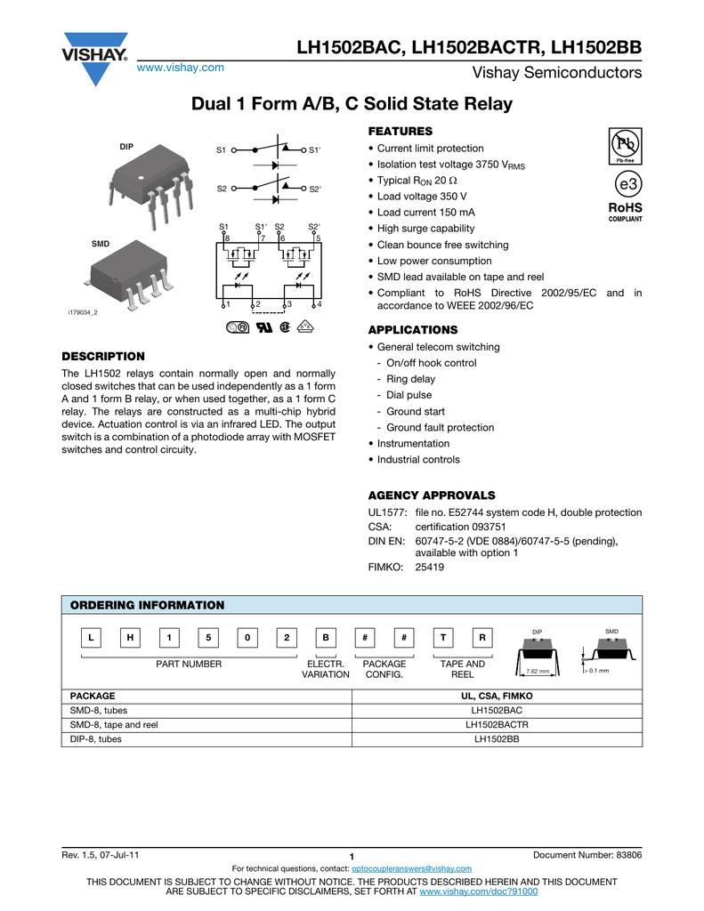 LH1502BAC, LH1502BACTR, LH1502BB Dual 1 Form A/B, C Solid