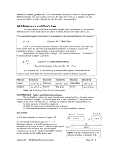 18-2 Resistance and Ohm`s Law