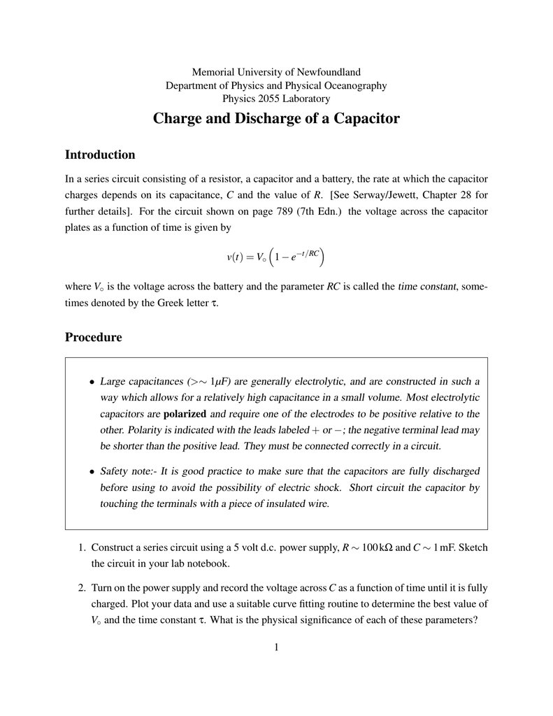 Charge And Discharge Of A Capacitor Capacitance Charging Discharging