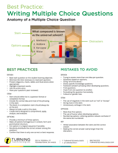 Best Practice: Writing Multiple Choice Questions