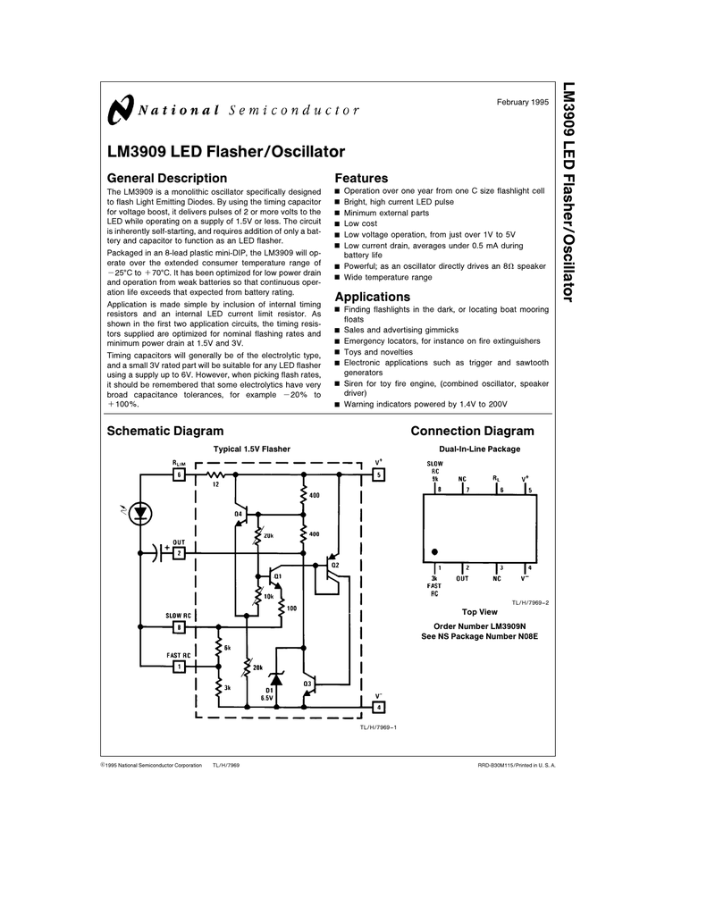 Lm3909 Led Flasher Oscillator Extended Temperature Oscillators