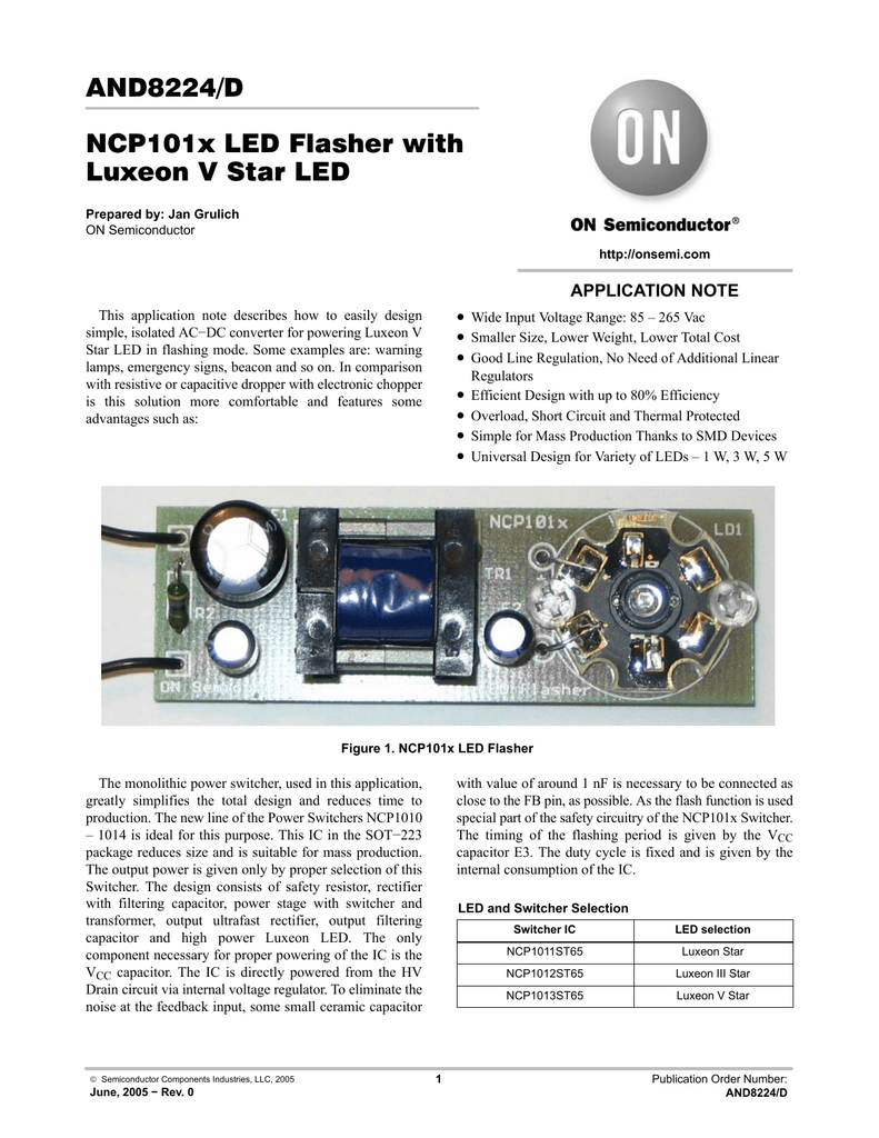 And8224 D Ncp101x Led Flasher With Luxeon V Star Zxsc400 In The High Powered And Datasheet
