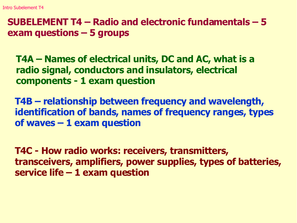 Radio and electronic fundamentals – 5 exam questions
