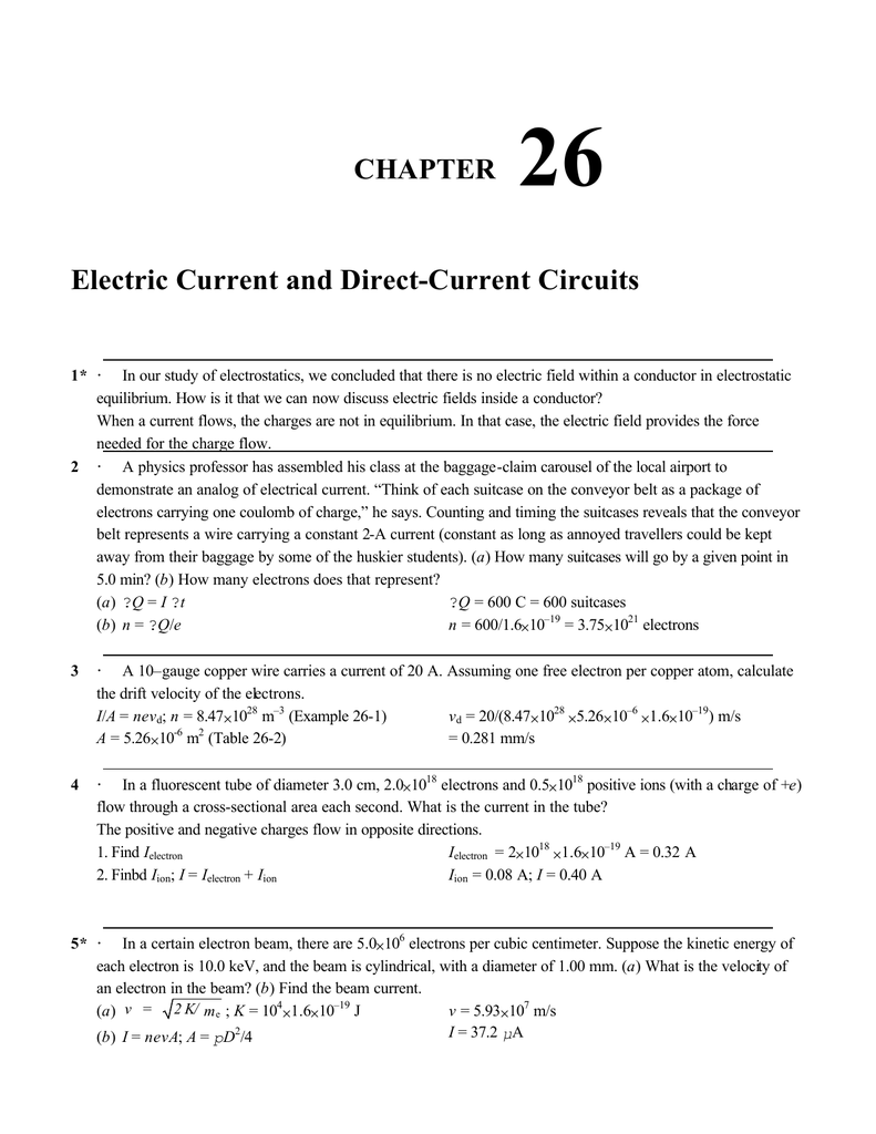 Chapter 26 Electric Cur And Direct Circuits 1 In Our Study Of Electrostatics We Concluded That There Is No Field Within A Conductor