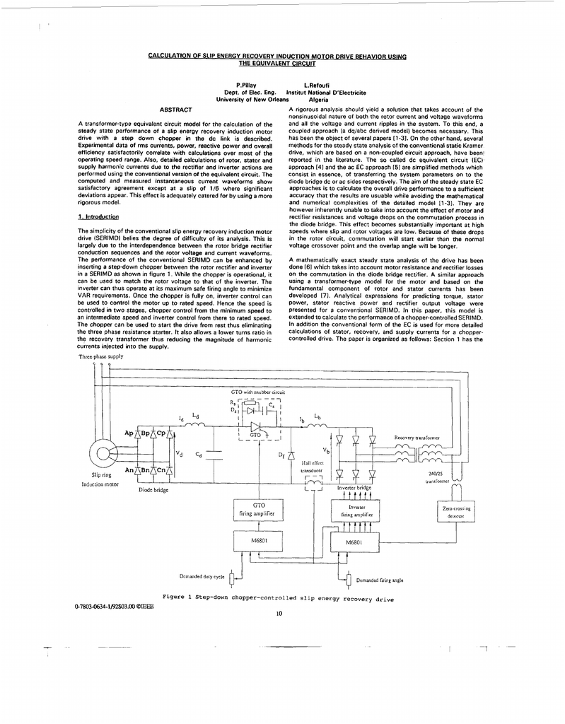 Calculation Of Slip Energy Recovery Induction Motor Drive Behavior Constant Airgap Equivalent Circuit